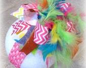 Chevron Pink Over the Top Bow, Chevron OTT Bows, Pink OTT Hairbow, Over the Top Bows, Large Hairbow, Big Hairbow, Girls Hairbows, Large Bow