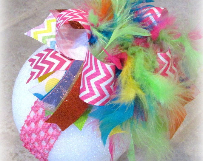 Chevron Pink Over the Top Bow, Baby Headband, Chevron OTT Bows, Pink OTT bow, Over the Top Bows, Large hair bow, Big Hairbow, Girls Hairbow,