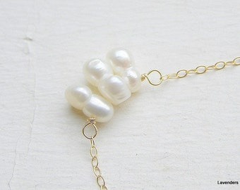Modern Pearl Necklace, Gold Pearl Necklace,  White  Pearl Jewelry, June Birthstone Necklace ,  Floating Pearl Gold necklace