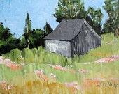 Impressionist California Hillside Farm Barn Plein Air Landscape Painting Original Art Lynne French 12x16