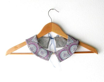 PeterPan Collar Geometric Pattern  Double Face Detachable Collar
