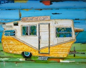 Shasta Vintage rv retro Camper ART PRINT or CANVAS camping beach decor wall decor positive art mixed media painting ocean collage, All Sizes