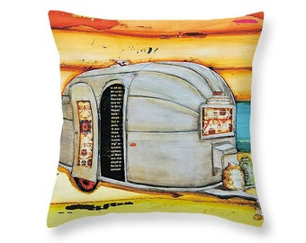 Airstream Rv camper trailer at the beach throw ART PILLOW, home decor pillow, housewares, camping art, distressed, mixed media, collage