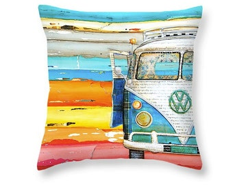 Vw Volkswagen Bus Van at the beach throw ART PILLOW, home decor pillow, housewares, distressed, mixed media, collage