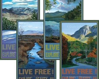 Live Free and Explore NH Posters 11x17 print set of 4, Winter, Spring, Summer, Fall, Chocorua, Pondicherry, Franconia Notch, View from Loon