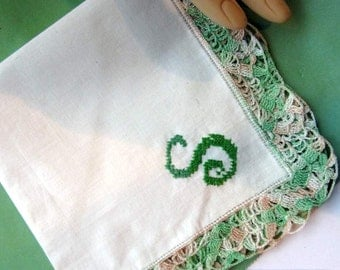"Vintage  White Cotton Hanky  Embroidered ""S""  Monogram Green & Beige Crocheted  Edge"