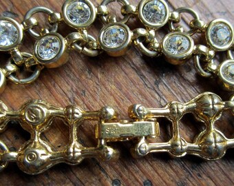 Swarovski Crystal Bracelet Bridal Two Rows Gold Tone Gift Box JB218