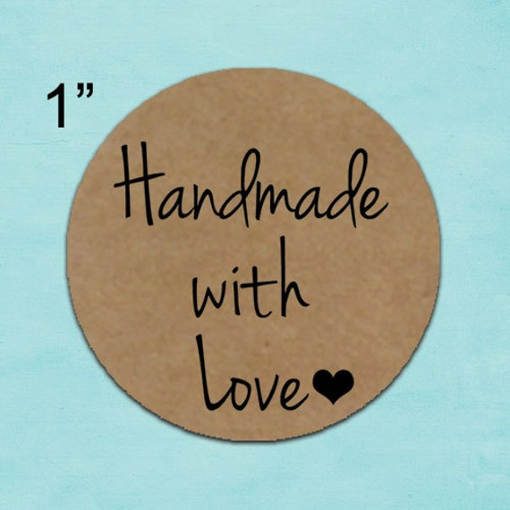 handmade with love stickers - brown kraft stickers 1inch circle labels laser printed product labels