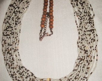 Bronze And White Seed Bead 20 Strand Necklace
