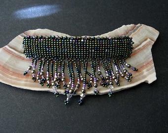 Vintage Beaded Barrette Hair Clip Metallic Blue Bead Fringe