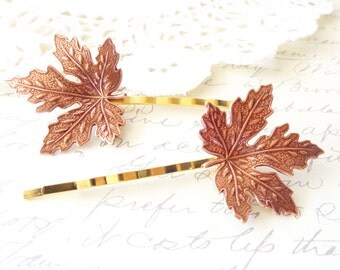 Rose Gold Leaf Hair Pins - Maple Leaf Bobby Pin - Woodland Hair Pins - Whimsical - Bridal hair Accessory - Rose Gold Maple Leaf Pins
