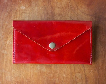 Leather Wallet - Envelope Style - The Lupe - in Restoration Red - Ready to Ship