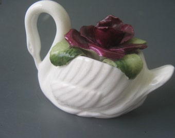 Vintage Swan Red Rose Figurine House of Goebel Bone China England