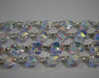 1 Yard (3 ft.) Chandelier Crystals Bead Garland Chain - AB - ASFOUR Full Lead Crystal - (S-19)