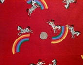 On Sale Cranston Rainbow and Zebra Juvenile Red Print 1 yd  100% Quality Cotton Fabric