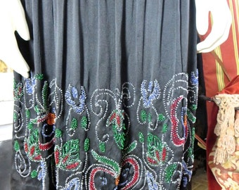 1920s Antique Flapper Black Silk Dress Glorious Crystal Colorful Beading 38 Bust