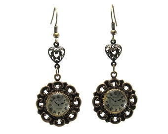 SALE 50% OFF Steampunk Gothic Lolita Earrings - J'adore Paris - with Miniature Clock Buttons in Antiqued Brass and Filigree Hearts
