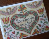 Blank Greeting Card Pennsylvania German Fraktur Folk Art   Melissa Von Underwood