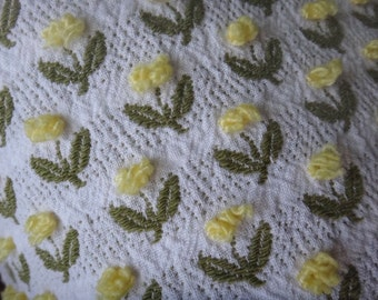 Fieldcrest Yellow Rosebuds  Vintage Cotton Chenille Bedspread Fabric 18 x 24 Inches