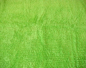 Lime Green Ribbed Plush Chenille Fabric 24 x 18 Inches
