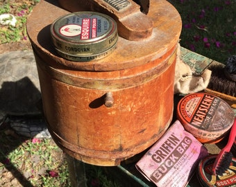 Primitive Shoe Shine Kit Wooden and Round Red Bucket with All The Goods at A Vintage Revolution
