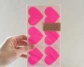 36 Large Neon Pink Heart Stickers - sticker tags, labels, name tags