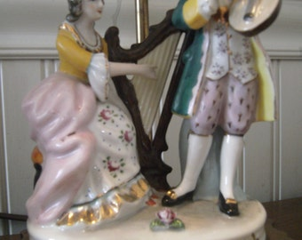 2 Vintage Porcelain Figural lamps