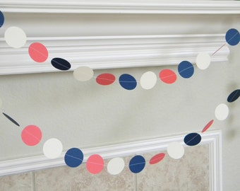 Ivory Coral, Navy Blue, Paper Garland. Ivory Coral Bridal Shower Garland, Ivory Coral Wedding Decor, Ivory Navy Graduation Decorations 10 ft