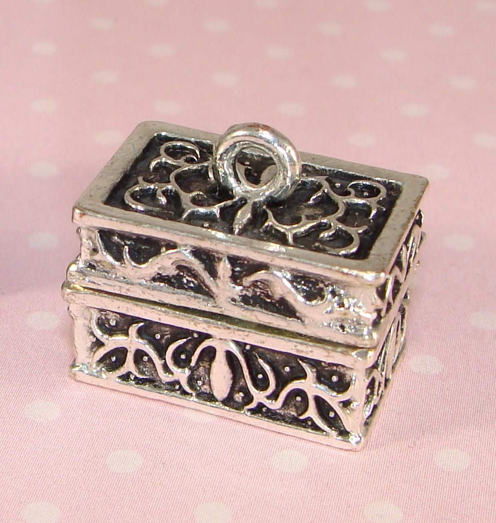treasure chest locket charm prayer box pendant silver