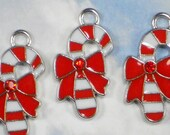 4 Candy Cane Charms Enamel Red Rhinestone & Silver Platinum Tone (P1838)