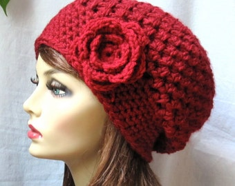 Red Womens Hat, Crochet Beret, Red Rose, Pick Color, Chunky, Warm, Teens, City Hat, Birthday Gifts, Gifts for Her, JE467BTF