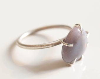 lilac triangle agate stone sterling silverring
