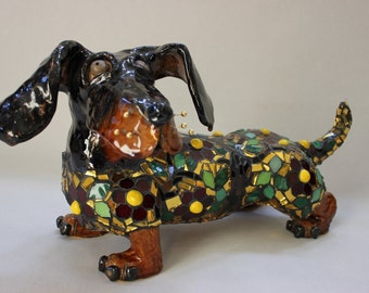Miss Daisy Mosiac Dachshund Dog Sculpture - Custom Pieces Available Upon Request