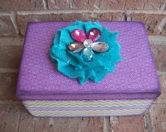 Purple and Turquoise Flower Memory Keepsake Box