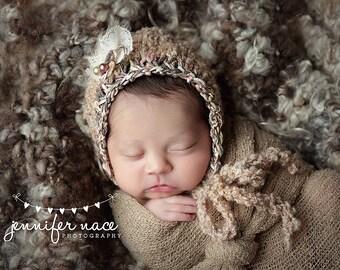Organic Ready Ship Bonnet Baby Girl Hat Knitted Newborn Cap Texture Neutral Woodland Photo Prop HandKnit Going Home Bonnet Coming Outfit Boy