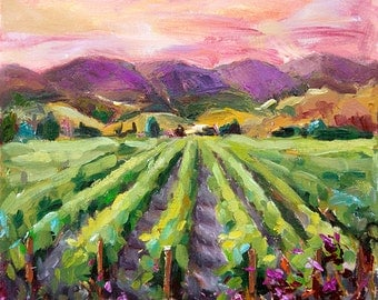 Giclee Print of Original Oil Painting,California landscape, Palette KNIFE, IMPRESSIONIST,sunset on hills