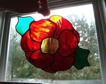 Stained glass red poppy flower suncatcher