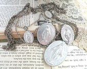 catholic mary medal necklace assemblage religious multi chain tangles ooak