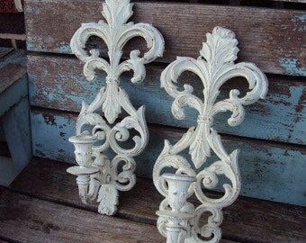 Vintage Shabby Chic Candelabra Wall Sconce Set Candle Holder Burwood Repurposed Distressed Chippy Syroco
