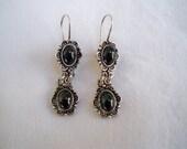 Vintage Jewelry Earrings Sterling Dangle Victorian Style Shepherd's Hook Black