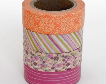 Washi Tape Set - 15mm - Pink and Mango Patterns - Four Rolls Washi Tape 247 / 891 / 647 / 649