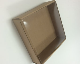 Heavy Kraft Cardboard Boxes set of 12 - Clear Top - 5 1/8 x 5 1/8 x 1 1/2 - Perfect Size for Small Gifts or Packaging - Square