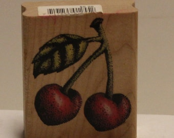 Detailed CHERRIES Fruit Rubber Stamp