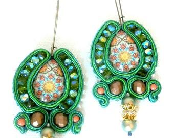 Green bronze long brass hoop soutache earrings , pompei mosaic inspiration , spring summer jewelry