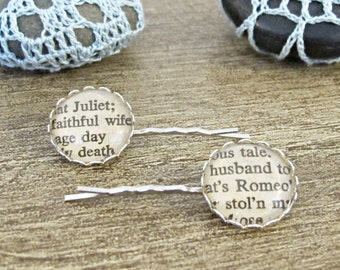 Romeo and Juliet Hair Pin Set. Shakespeare Bobby Pin Grip Accessories. Silver Bridal Wedding Typography Poetry. Book Page Two Cheeky Monkeys