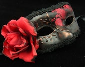 Contessa Mask, Black and red rose embroidered silk covered eyemask with 3D swirls and burnt red rose