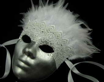 OOAK Uccello Bianca Mask, Fullfaced Haute Couture Silver Leafed Mask with Venetian lace, white feathers, and crystal rhinestones