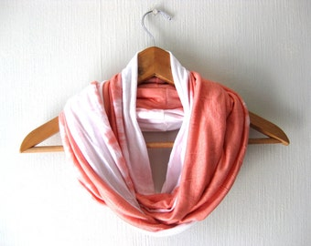 SALE - Girlfriend Gift, PEACH Infinity Scarf, women scarf - Delicate Soft Jersey in peach and white,  Circle Loop Scarf, Neckwarmer