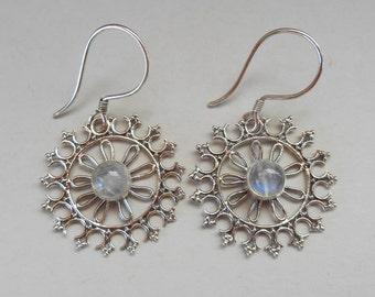 Balinese  Sterling Silver Moonstone Dangle Earrings / 1.55 inch long / Bali handmade jewelry / silver 925