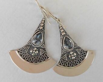 Silver sterling Topaz gemstone Dangle Earrings / silver 925 / Bali handmade jewelry / 1.85 inch long